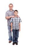 Vader en zoon die op wit wordt geïsoleerdi Royalty-vrije Stock Afbeelding
