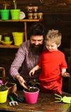 Vader en zoon Dit is dossier van EPS10-formaat Bloemzorg het water geven Grondmeststoffen Familiedag serre Gebaarde mens en weini royalty-vrije stock afbeelding