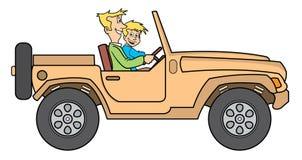 Vader en zoon in jeepillustratie Stock Afbeeldingen