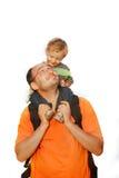 Vader en zoon over wit Stock Fotografie