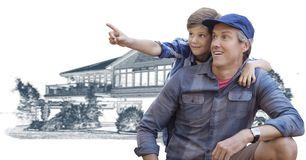 Vader en zoon voor de schets van de huistekening royalty-vrije stock foto's