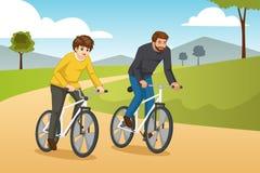 Vader en Zoons de Gaande Illustratie van Biking in openlucht vector illustratie