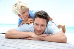 Vader en zoonsportret Stock Foto