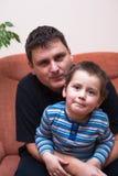 Vader en zoonsportret Stock Fotografie