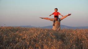 Vader en zoonsspel, ouder die op de rug rit in tarwecultuur geven bij zonsondergang stock videobeelden