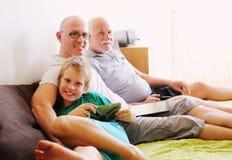 Vader, grootvader en zoon royalty-vrije stock afbeelding