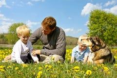 Vader, Kinderen, en Hond het Ontspannen in Bloemweide Royalty-vrije Stock Foto