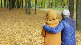 Vader met dochter het rusten in een park in de herfst Papa en tiener die en het mooie landschap glimlachen bekijken stock footage
