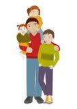 Vader met drie kinderen Beeldverhaalvector Royalty-vrije Stock Foto's