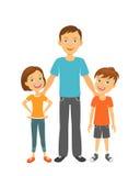 Vader met jonge geitjes Gelukkige Familie Vader met kinderen royalty-vrije illustratie
