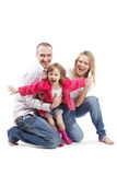 Vader, moeder en dochter met uitgestrekte wapens Stock Afbeeldingen