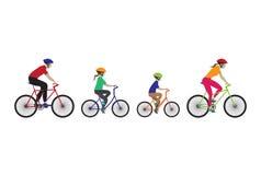 Vader, moeder en jonge geitjes het biking Stock Foto
