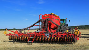 Vaderstad Spirit 600C Seed Drill and John Deere 7340 Tractor Stock Images