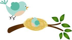 Vadervogel en haar vogeltje Stock Afbeeldingen