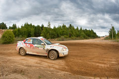 Vadim Michaylov drives a Subaru Impreza  car Stock Images