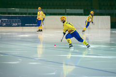 Vadim Vasilyev (13) in action. MOSCOW - FEBRUARY 26, 2016: Vadim Vasilyev (13) in action during the Russian bandy league game Dynamo Moscow vs Sharp Krasnogorsk Royalty Free Stock Photography