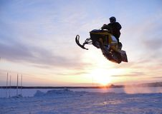 Schneequerfeldeinrennen. Stockfotografie