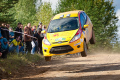 Vadim Zhenov drives a yellow Ford Fiesta Royalty Free Stock Photography