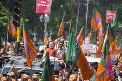 VADODARA, GUJARAT/INDIA - 9. April 2014: Narendra Modi archivierte seine Nominierungspapiere von Sitz Vadodara Lok Sabha Stockfotografie