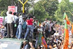 VADODARA, GUJARAT/INDIA - 9. April 2014: Narendra Modi archivierte seine Nominierungspapiere von Sitz Vadodara Lok Sabha Lizenzfreie Stockfotografie