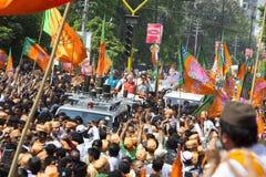VADODARA, GUJARAT/INDIA - 9. April 2014: Narendra Modi archivierte seine Nominierungspapiere von Sitz Vadodara Lok Sabha Lizenzfreies Stockbild
