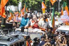 VADODARA, GUJARAT/INDIA - 9 aprile 2014: Narendra Modi ha archivato le sue carte di nomina dal sedile di Vadodara Lok Sabha Fotografia Stock Libera da Diritti