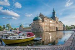 Vadstena城堡在夏天期间在瑞典 库存图片