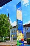 Vaduz bus station Liechtenstein. Light Prism by Heinz Mack modern sculpture by bus stop on Vaduz street Liechteinstein royalty free stock image