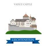 Vaduz Castle in Liechtenstein flat vector attraction landmark. Vaduz Castle in Liechtenstein. Flat cartoon style historic sight showplace attraction landmarks Royalty Free Stock Images