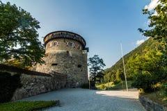 A Vaduz castle from Liechtenstein with a main tower. stock image