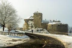 Vaduz Castle in Liechtenstein on a snowy winter day stock images