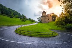 Vaduz Castle, the official residence of the Prince of Liechtenstein. Vaduz Castle, the official residence of the Prince of Liechtenstein, at sunset stock photos