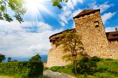 Vaduz castle walls and towers in Liechtenstein. Kingdom, tiny country in Europe Stock Images