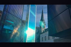 Vaduz Cathedral and Glass monument Royalty Free Stock Photos