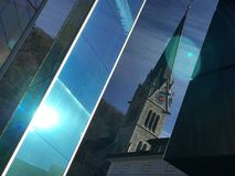 Vaduz Cathedral and Glass monument Royalty Free Stock Images