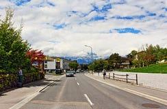 Vaduz gata Liechtenstein Royaltyfri Foto