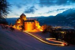 Vaduz, Liechtenstein. Illuminated castle of Vaduz at sunset stock images