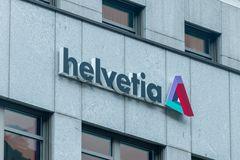 Logo and sing of Helvetia Insurance in Vaduz royalty free stock photo