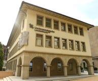 Vaduz Liechtenstein, Juni 02, 2016: Landesbank byggnad i Vadu Royaltyfri Foto