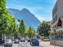 Vaduz stad, det huvudfrån Liechtenstein, Europa Royaltyfri Fotografi