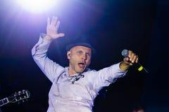 Vadym Krasnooky,乌克兰摇滚小组疯狂的头榜样歌手, Pobuzke,乌克兰, 15 07 2017年,情感表现,社论照片 图库摄影