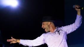Vadym Krasnooky,乌克兰摇滚小组疯狂的头榜样歌手, Pobuzke,乌克兰, 15 07 2017年,社论照片 免版税库存照片