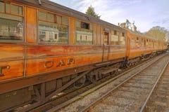 Vagões de madeira do trem do vapor na estação do goathland, yorkshire Inglaterra Imagem de Stock Royalty Free