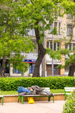 The vagabond on a bench in the park, Bulgaria, Burgas Stock Image