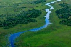 Vagabundo azul, paisaje aéreo en el delta de Okavango, Botswana Lagos y ríos, visión desde el aeroplano Vegetación verde en Suráf fotos de archivo libres de regalías