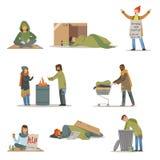 Vagabundo de los caracteres fijados Hombres del desempleo que necesitan ejemplos del vector de la ayuda stock de ilustración