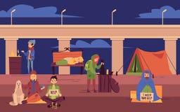 Vagabundo joven que pasa noche al aire libre bajo estilo de la historieta del puente stock de ilustración