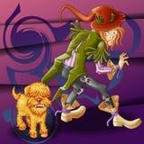 Vagabundo y perro enojado libre illustration