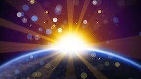 Vage aarde en zon in ruimte Stock Afbeelding