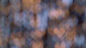 Vage blauw, wit, geel, gouden, steekt vakantiedecor, glanzend bokeh abstract gevormd aan hart als achtergrond stock footage